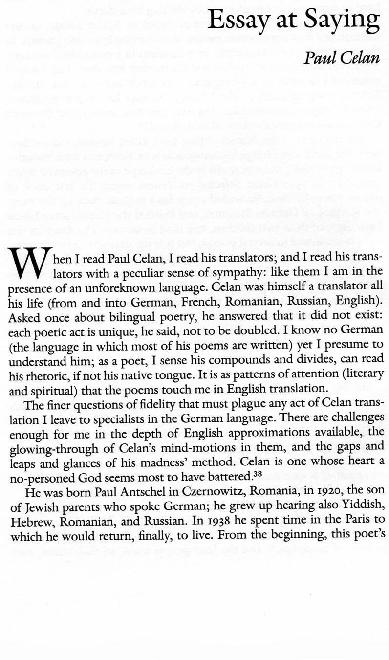 broken english poetry and partiality modernist poetry essay at saying paul celan